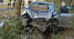 Von Fahrbahn abgekommen: Pkw zerstört Feldkreuz und prallt gegen Baum