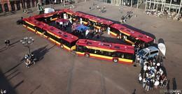 Krimilesung mit sieben Bussen der neuen Urbino-Baureihe